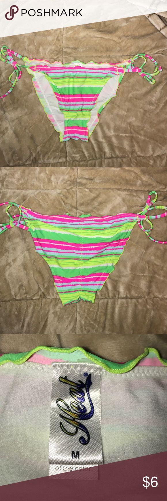 Neon striped bikini bottoms Selling these ruffled, ruched bikini bottoms! All neon colors that are striped! Swim Bikinis
