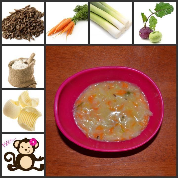 Vynikající polévka :-) Natrouháme kedlubnu a mrkev a přidáme několik koleček pórku, posypeme lehce kmínem a dáme vařit. Když je vše měkké, zahustíme jíškou z másla a mouky. Výborná :-)