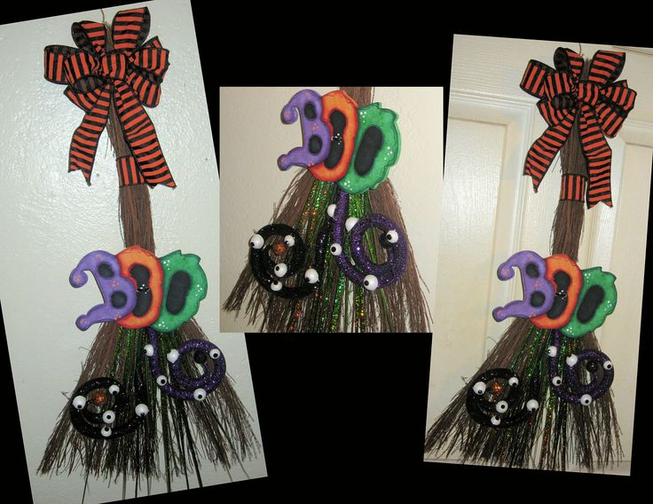 Halloween Decor,Witch Brooms,Unique Halloween Decor,Door Decor,Holiday Door Decor,BOO Decor,Spooky Decor,Handmade Gifts,Trendy Halloween by jusbcuz on Etsy