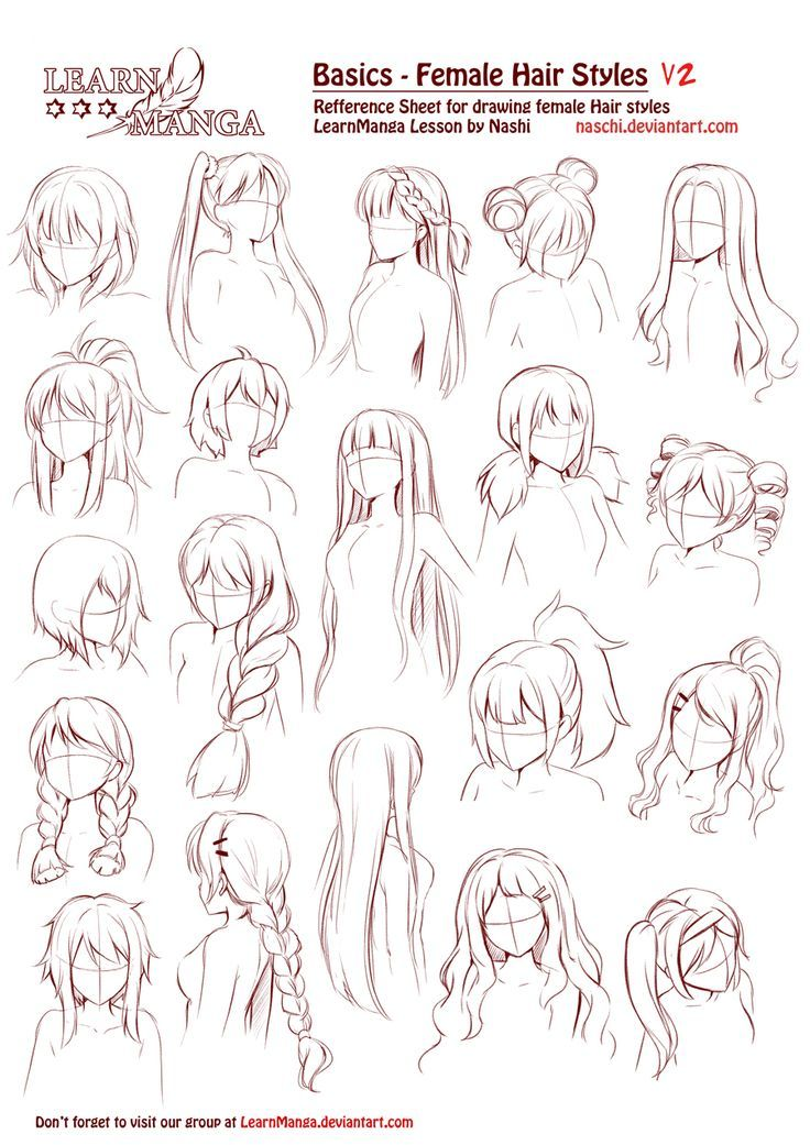 Learn Manga Basics Female Hair styles V2 by Naschi.deviantart... on @DeviantArt