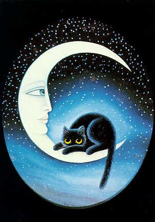 The cat and the moon ... http://homepage.ntlworld.com/alienor/mooncat.htm