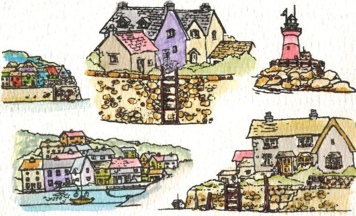 Deze collage is gemaakt door Angela met de stempelset Harbour Village, ontworpen door Sharon Bennett van Hobby Art. Verkrijgbaar bij www.multihobby.nl