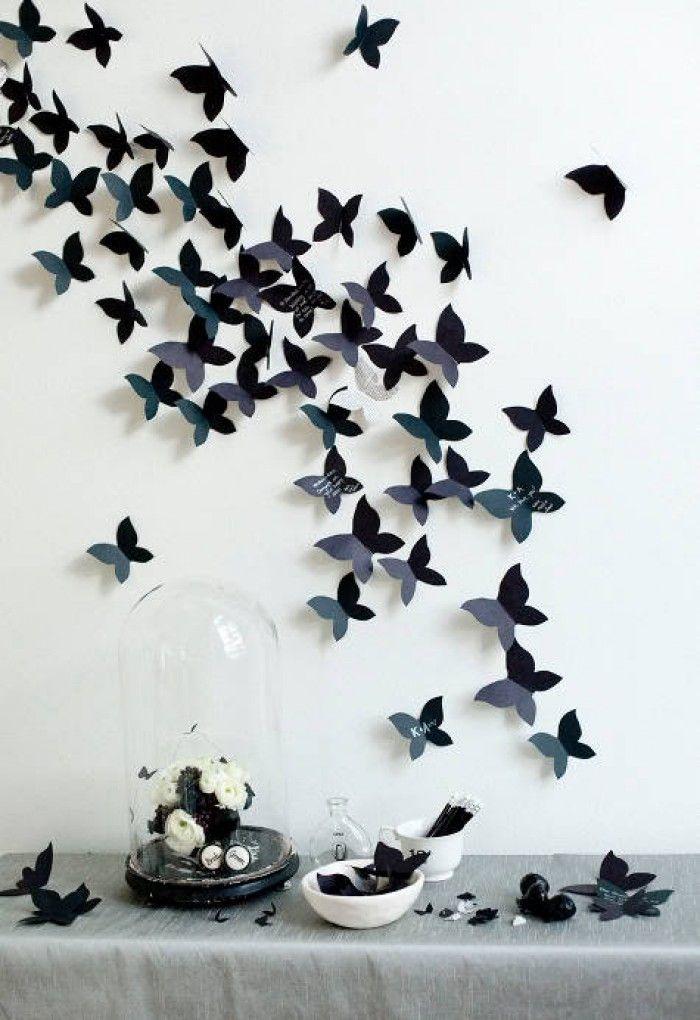 Muurdecoratie vlinders, zelf maken. Zelf maken; op de site staat precies uitgelegd hoe. Kies je eigen kleur, je eigen patroon. Speels.