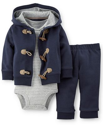 Baby's all ready for his first Fall! Carter's Baby Boys' 3-Piece Cardigan, Bodysuit & Pants Set