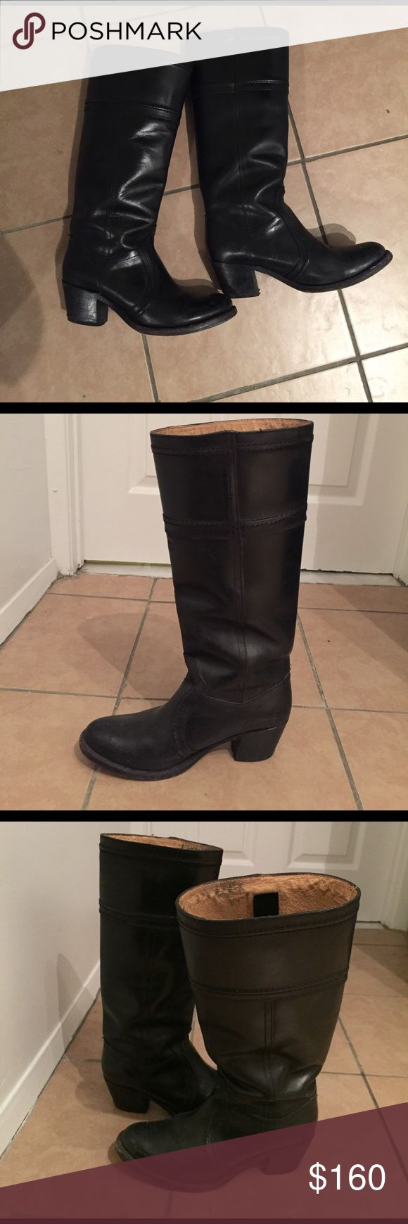 Black Heeled Frye Riding Boots Lightly worn beautiful riding boots. Heel is about 2.5 inches. Loose around the calf and looks great with pants or a dress. Frye Shoes Heeled Boots