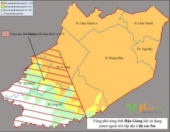 Bản đồ phủ sóng DVB T2 của MobiTV tại Hậu Giang 1 antena 5m #Kingtek #đầu_thu_ftv #MobiTV