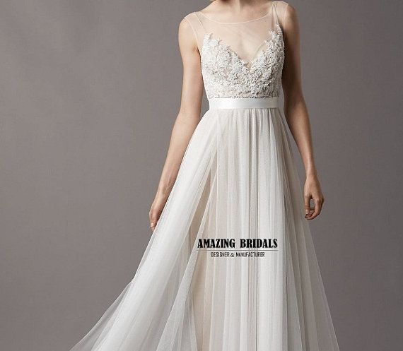 Simple feminine tulle lace wedding dress wedding gown for Beach wedding dresses simple