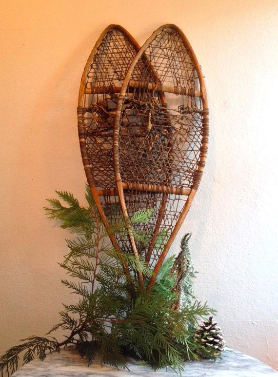 Rustic Antique Wooden Snowshoes - for your front porch