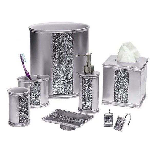 silver glitter bathroom accessories. Sinatra Silver Bling Shower Curtain and Bath Accessories  12 AUD liked on Polyvore 20 best Add sequins bling to your bathroom images