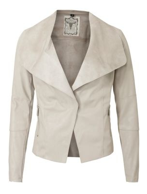 Stone Soft Suede-Look Waterfall Jacket