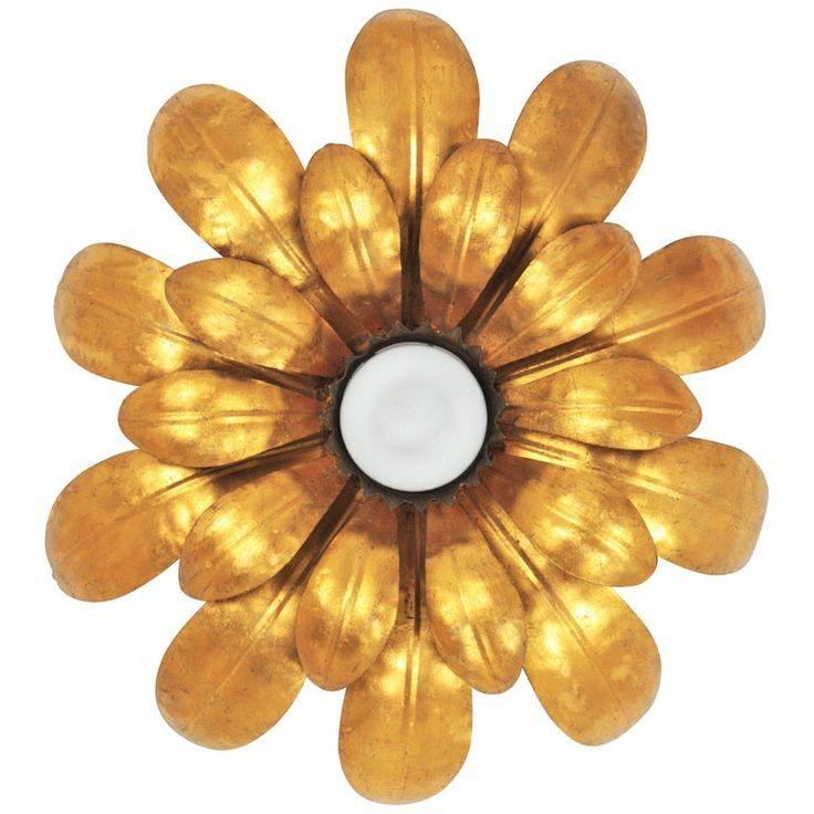 1stdibs Flush Mount French 1950s Gilt Floral Sunburst Ceiling