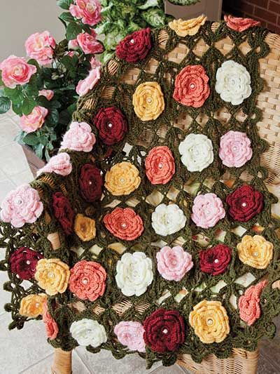 Wild Roses Throw Crochet Pattern Download from e-PatternsCentral.com -- Beaded rose motifs in a rainbow of colors create this stunning throw, a charming addition to your spring and summer decor.
