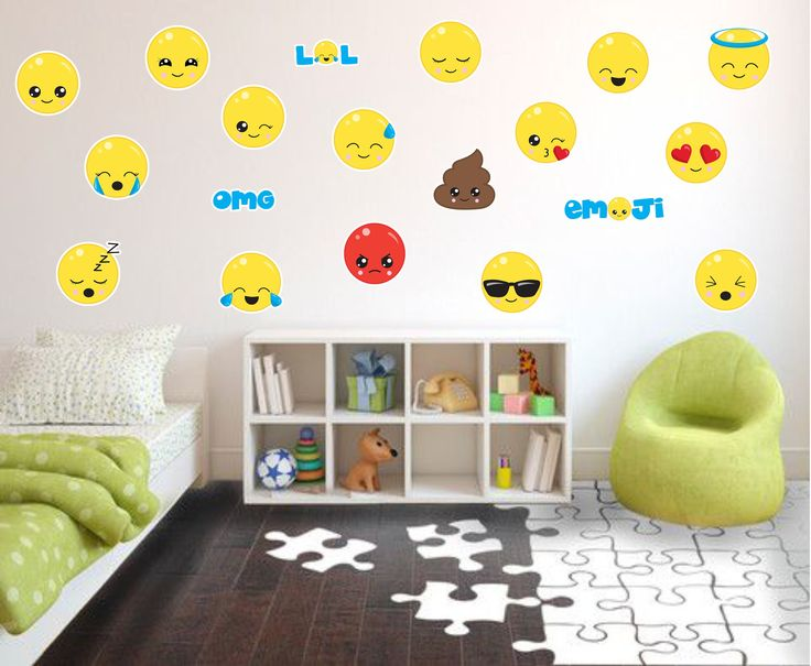 Emoji wall decals, fabric wall decals, kids wall decals, playroom wall decals, kids emoji decals, wall emoji stickers, emoji wall decor by foreverskystudio on Etsy