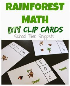 Creative Preschool Theme--The Rainforest. Practice number recognition and counting with easy, DIY Rainforest Themed Clip Cards.