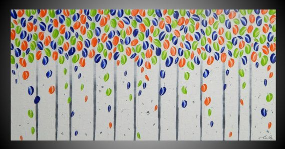 Blue Green Orange Wall art decoration Birch #art #painting @EtsyMktgTool http://etsy.me/2amHMWe
