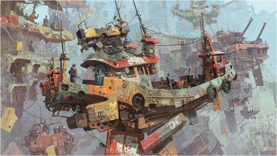 飛行漁船がかっこいいデジタルアート – Ian McQue