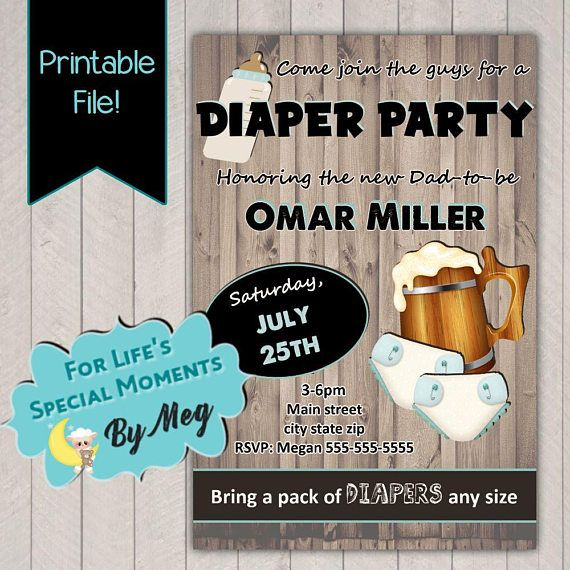Diaper Party Invitations It's a Boy Baby Shower