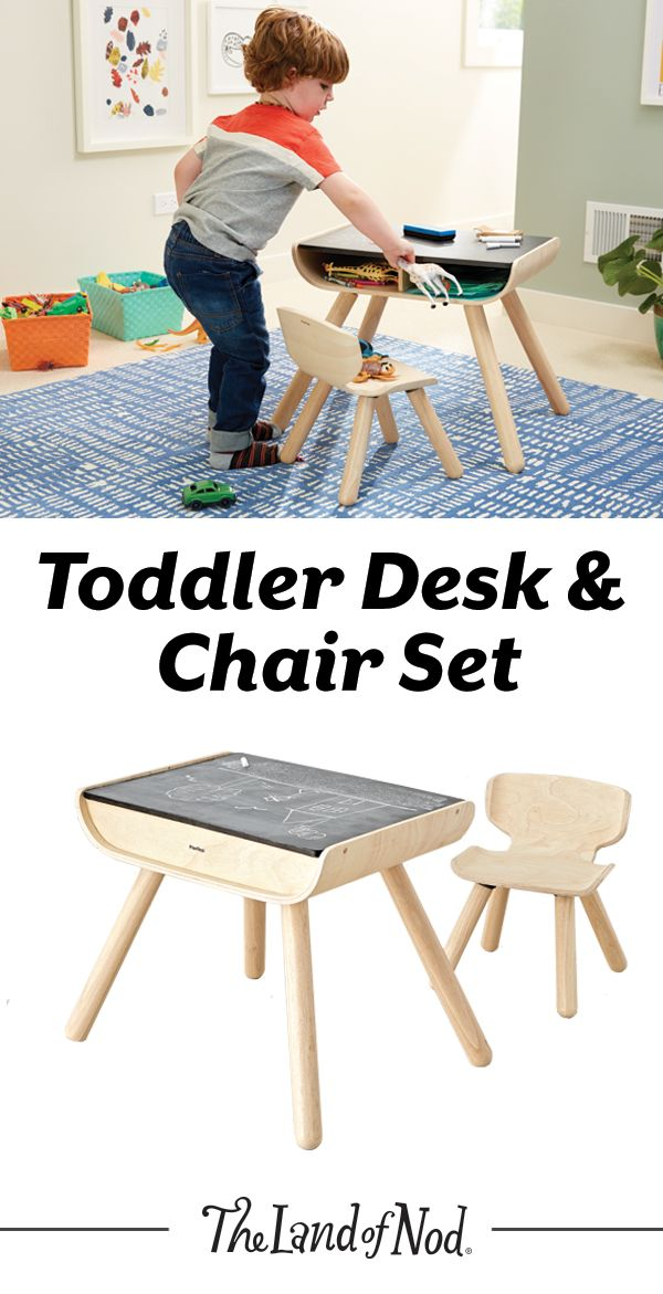 With a sleek bentwood design, our multifunctional toddler desk and chair set is perfect for the active toddler. There are two storage compartments, sturdy support and a chalkboard table that toddlers can draw on with chalk, as well. Plus, it'll be the perfect spot for kids to create all of their favorite arts and craft projects.