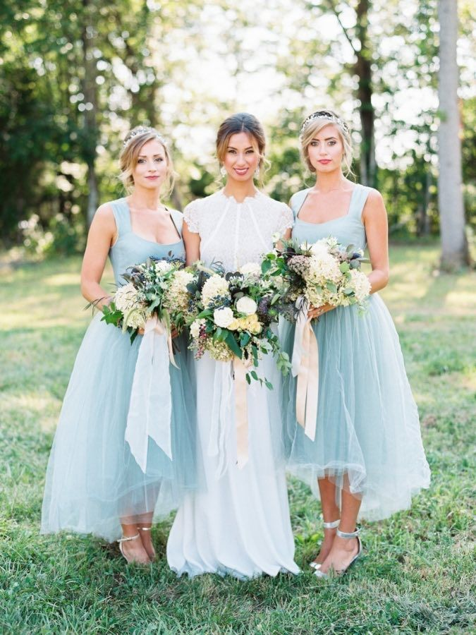 Pale blue bridesmaid dresses, High low bridesmaid dresses, Scoop neck sleeveless bridesmaid dresses, PD2101133 from BellaBridal