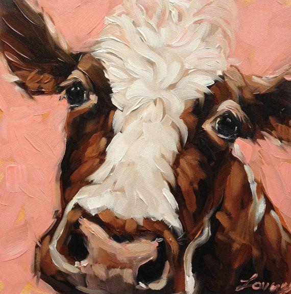 Sally 6 x 6 Zoll original Ölgemälde einer Kuh braun und weiß mit rot rosa Hintergrund. Diese Kuh-Porträt ist in einem skurrilen und impressionistischen Stil mit kühnen Pinselstrichen und Farbe gemalt. Malerei ist auf 1/8 Dicke Archivierung Gessobord panel Kleine schwarze hölzerne Staffelei enthalten! Bildmaterial wird fotografiert und das Bild wird entsprechend der ursprünglichen Gemälde so nah wie möglich angepasst. Monitore verschieben manchmal die Farbe leicht. Bitte finden…