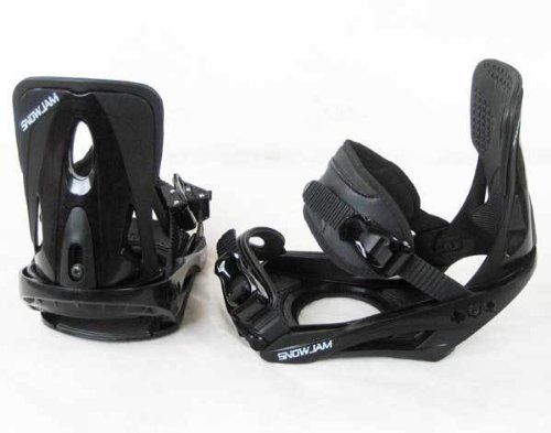 SnowJam Adult Snowboard Bindings, Black, Size Large 2012 model 9-14 sizes NEW by SnowJam. Save 57 Off!. $59.99. SnowJam Adult Snowboard Bindings, Black, Size Large 2012 model 9-14 sizes NEW These Snowjam Adult snowboard bindings are the ultimate binding for beginner and intermediate riders. They are super stylish with a black and white color scheme. Two Ratchet style adjustable straps work to keep your feet secure and in place while the strap padding is designed to distribute b...