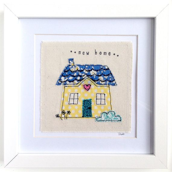 New Home framed wall art picture gift, personalised stitched fabric applique embroidery. New moving first house