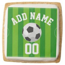 Football/Soccer Party Personalized Square Premium Shortbread Cookie
