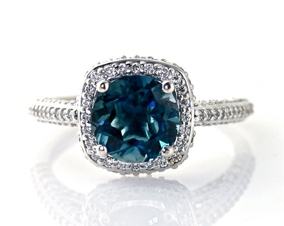 14K London Blue Topaz Ring Diamond Halo Engagement by RareEarth, $1660.00