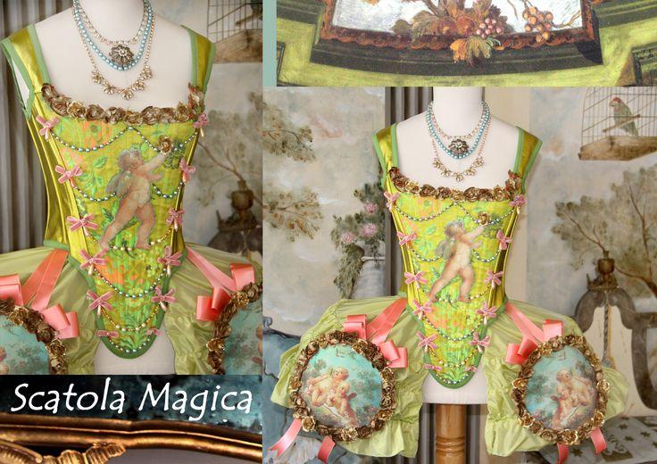 Corsetto 1700  in seta e pelle abbinato a gabbietta in seta stile rococo', by Scatola Magica