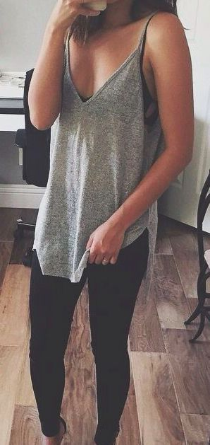 Gray Tank + Black Jeans for summer