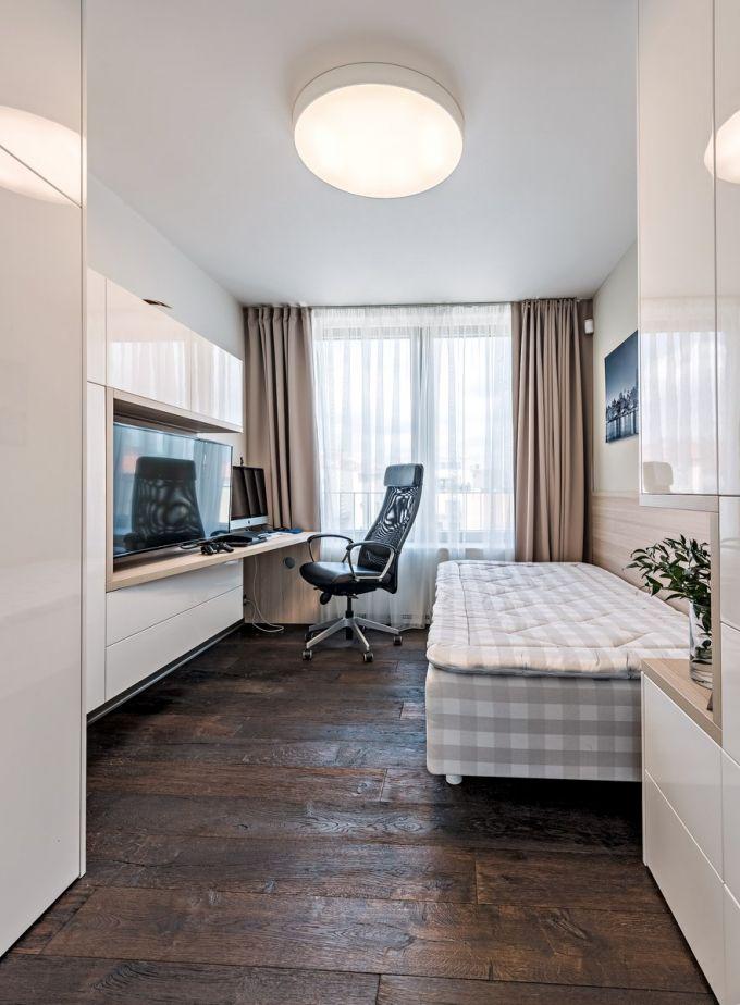 Dětské pokoje jsou vybaveny kvalitními lůžky Hästens a nábytkem zhotoveným na míru s důrazem kladeným na úložné prostory