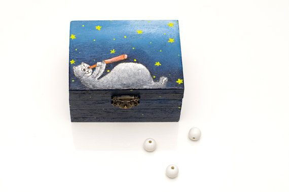 Baptism gift boy - Starry sky - Wood cat box - Gifts for boys - Christening gift boy - Godchild gift - New baby gift - Christmas gifts for children Cats