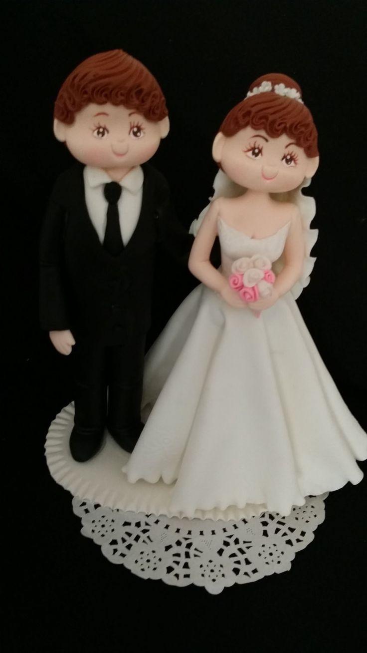 Unique Wedding Cake Topper, Bride & Groom Cake Topper, Bride on White Wedding…