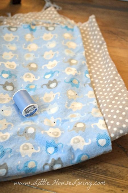 How to Make a Baby Receiving Blanket in just 10 minutes - READ COMMENTS!  1-1/4 yards of each fabric!!!!
