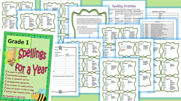 This is a full year's developmentally appropriate spelling programme for 6 year old children. It contains targeted word lists with spelling patterns identified, and lots of fun activities to do. Grade 1 Year 2 #spelling activities #grade 2 spelling
