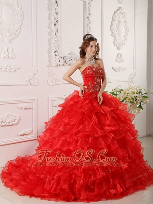 Informal Red Quinceanera Dress Strapless Organza Ruffles and Embroidery Ball Gown  http://www.fashionos.com