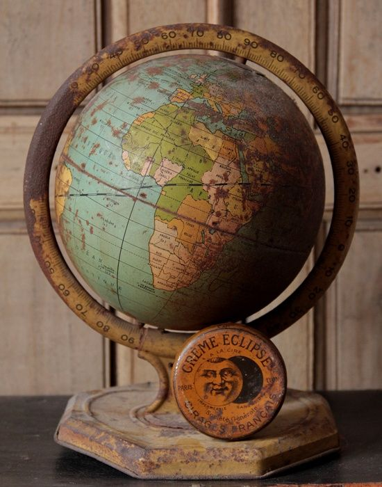 Beautiful vintage globe- love these, because it shows you how the world changes as it turns...names and borders, countries & kings!