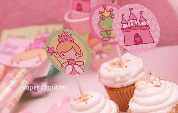 Princess Party Cupcake Toppers   Printable PDF by paperglitter, $3.00