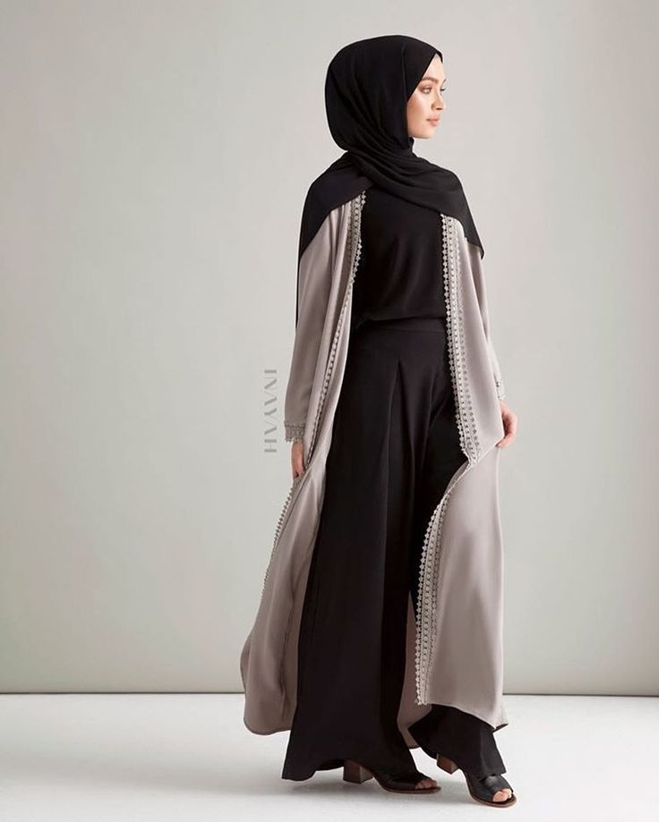 INAYAH | An Outerwear Essential - Dyed in a silvery winter tone, you can style this open front kimono for any occasion, be it day or night. Silver Grey Lace Trimmed Kimono Black Maxi Cotton Slip Dress Black Soft Crepe Hijab www.inayah.co