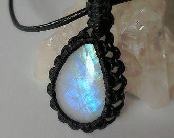 Macramé piedra lunar cristal collar llamativo colgante, collar de moonstone, collar de macramé, joyería de piedra de luna, moonstone del arco iris, joyería