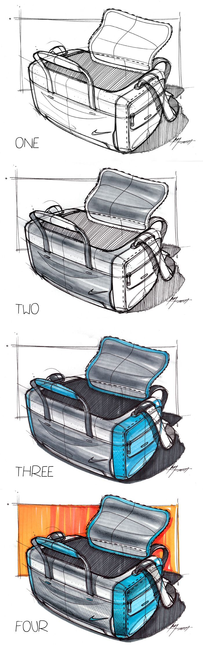 4 Step Marker Sketch of a Bag | Industrial Design Sketching