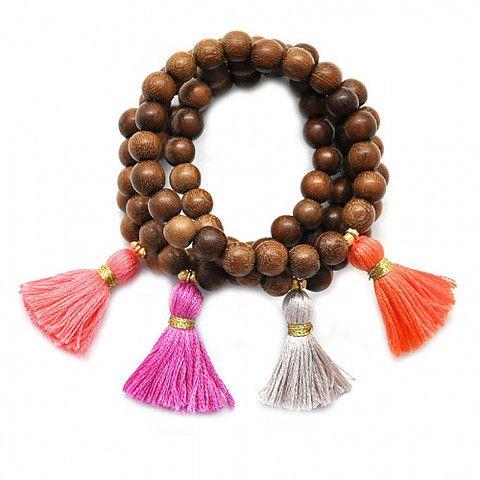 Wood Tassel Beaded Bracelet