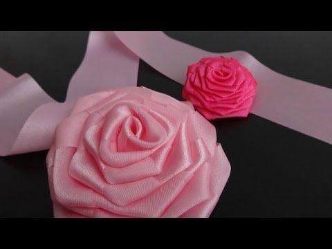 Плоская роза из атласной ленты шириной 2,5 см Видео Мастер Класс - YouTube