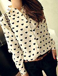 Women's Love Pattern Long Sleeve Chiffon Blouse – MXN $ 152.02