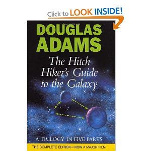 The Hitch Hiker's Guide to the Galaxy: http://www.amazon.co.uk/gp/product/0434003484?ie=UTF8&camp=3194&creative=21330&creativeASIN=0434003484&linkCode=shr&tag=hannster-21&=books&qid=1379895519&sr=1-1&keywords=douglas+adams