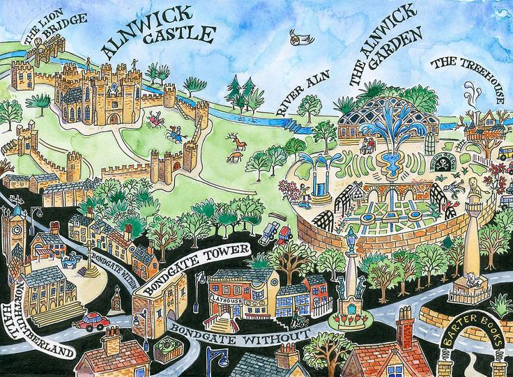 Sarah Farooqj - Map painting of Alnwick Town and Garden