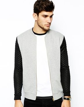 ASOS Bomber In Jersey With Quilted Sleeves. need this one!
