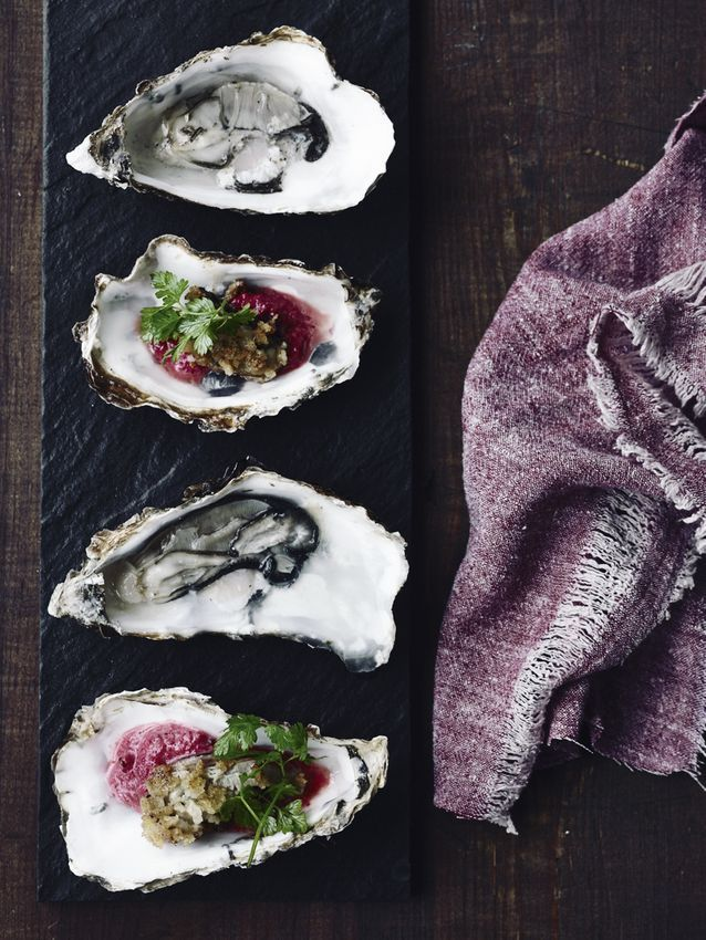 Rå og panerede østers