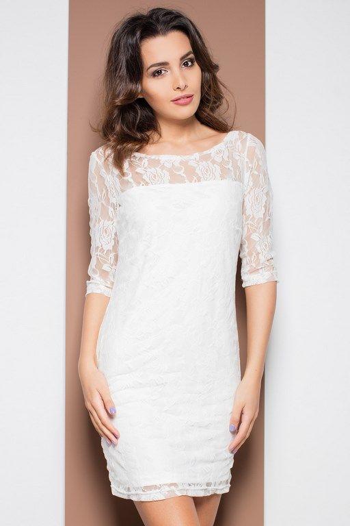 Ołówkowa sukienka mini z przezroczystą koronką