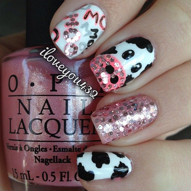 """Cow nails!!  I love these!! Requested by @mad_kline please leave your requests down below in the comments! Also I hand painted this design and I placed the glitters one by one (very time consuming!) please follow my personal account @TaylorMarie432 #nailsbyiloveyou"" Photo taken by @iloveyou432 on Instagram, pinned via the InstaPin iOS App! http://www.instapinapp.com (01/24/2013)"
